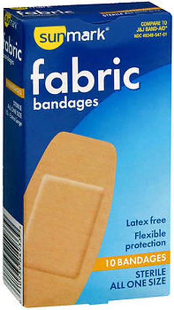 Sunmark Fabric Bandages All One Size Extra Large - 10 ct
