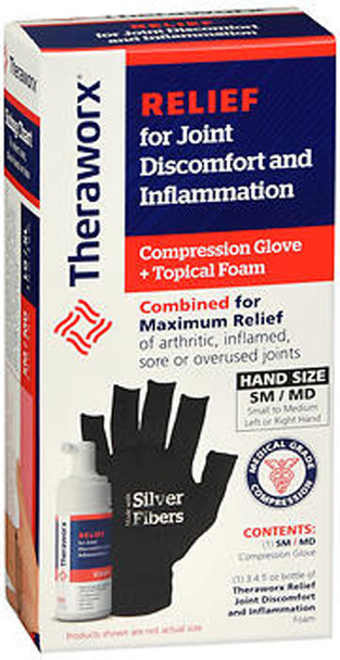 Theraworx Relief for Joint Discomfort and Inflammation Compression Glove + Topical Foam SM/MD
