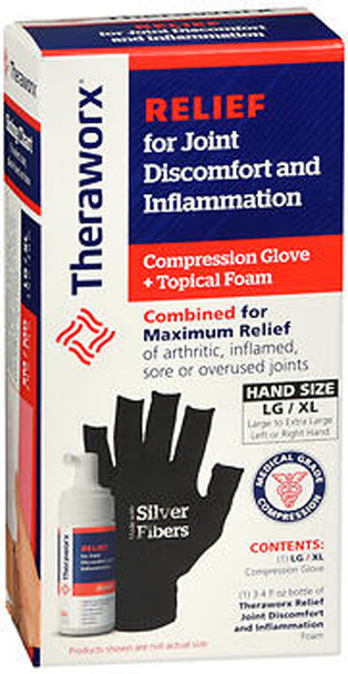 Theraworx Relief for Joint Discomfort and Inflammation Compression Glove + Topical Foam LG/XL