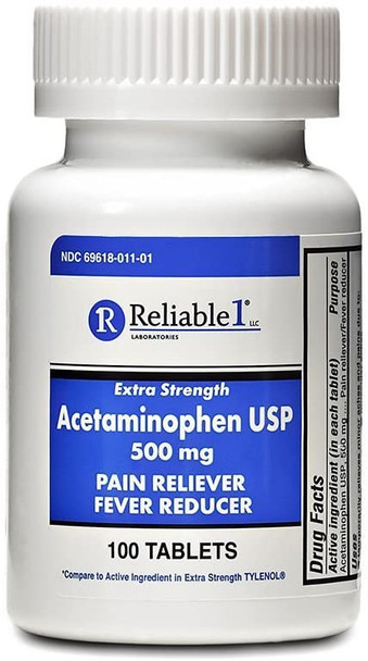 Reliable 1 Extra Strength Acetaminophen USP 500 mg 100 Tablets (1 Bottle)