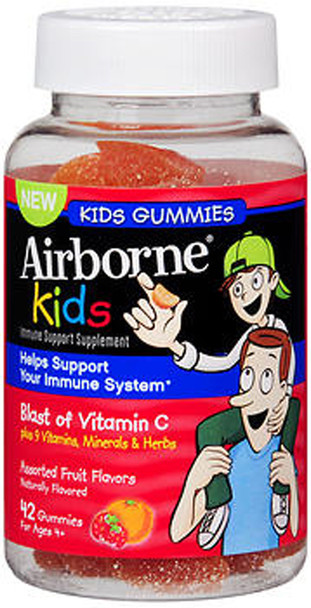 Airborne Kids Immune Support Supplement Gummies Assorted Fruit Flavors - 42 ct
