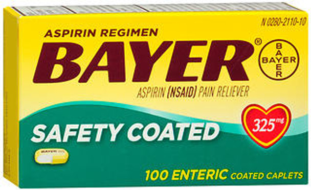 Bayer Safety Coated Aspirin 325 mg -100 Caplets
