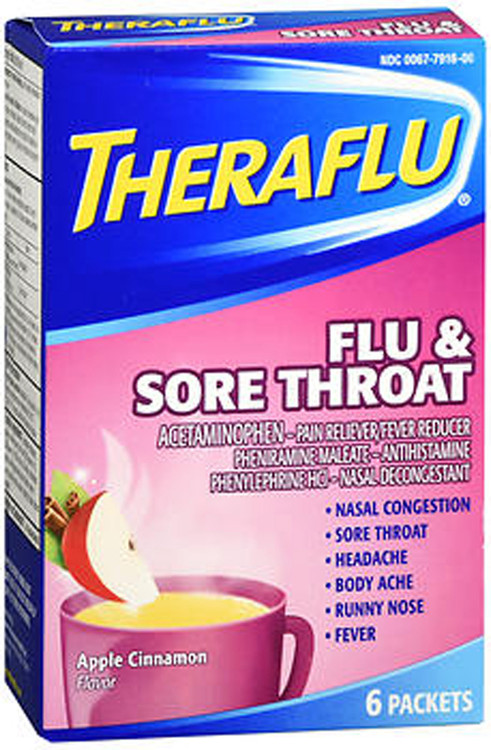 Theraflu Flu Amp Sore Throat Packets Apple Cinnamon Flavor
