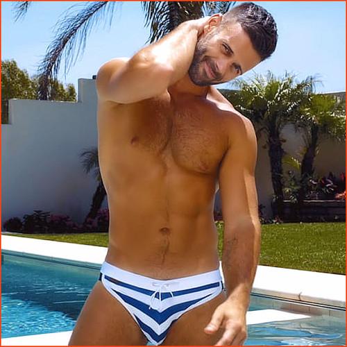 Jack Adams Sport Swim Brief Nautical Stripe