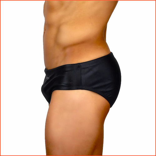 CA-RIO-CA Black Leather Lycra Sunga Brief Cut Cradels You