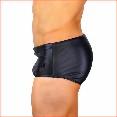 """CA-RIO-CA Black Leather Lycra Sunga Classic Cut  5"""" Side Seam"""