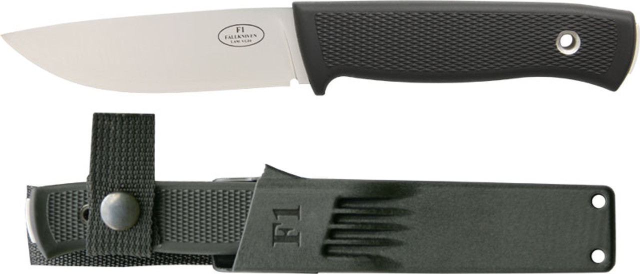Fallkniven F1 Swedish Military Survival Knife Fixed Plain Edge VG10 Blade  Black Zytel Sheath