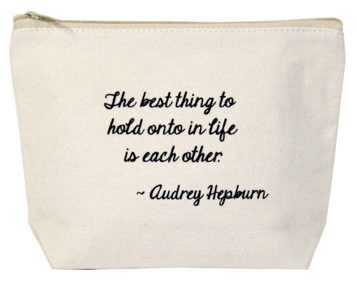 The best thing to hold onto in life is eachother - Audrey Hepburn - Canvas bag by Jules