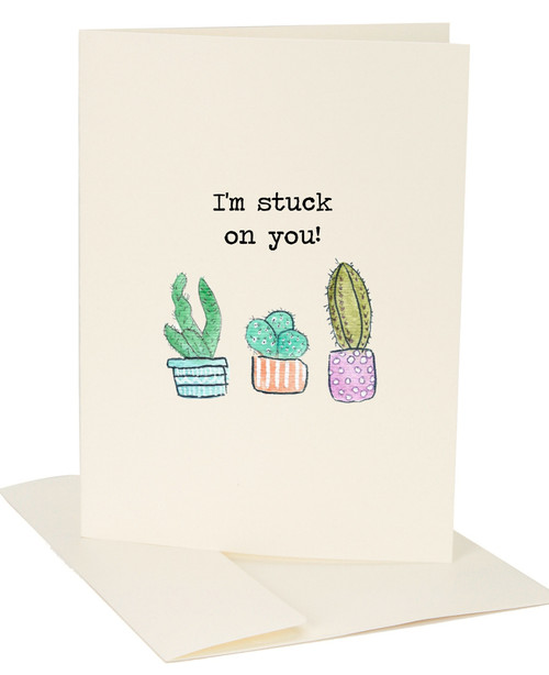I'm stuck on you blank greeting card with cactus watercolor by Jules Products