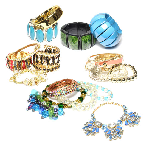(474) Fashion Rhinestone Glass Metal Women Wholesale Bracelets Cuffs Bangles