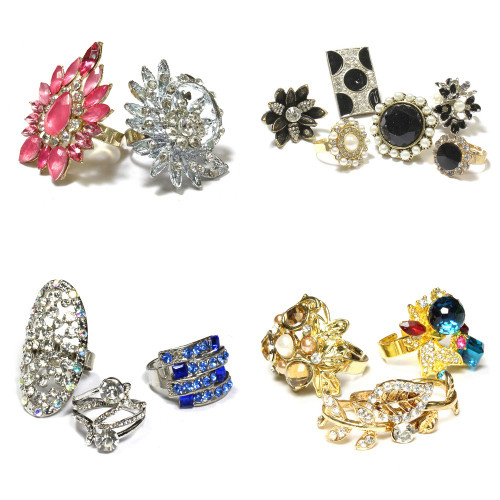 (1047) Wholesale Assorted Designs Stylish Rings Women Fashion Jewelries