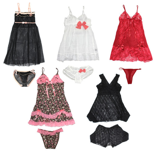 (36) Sexy Women Sleepwear Babydoll Dress Underwear Set