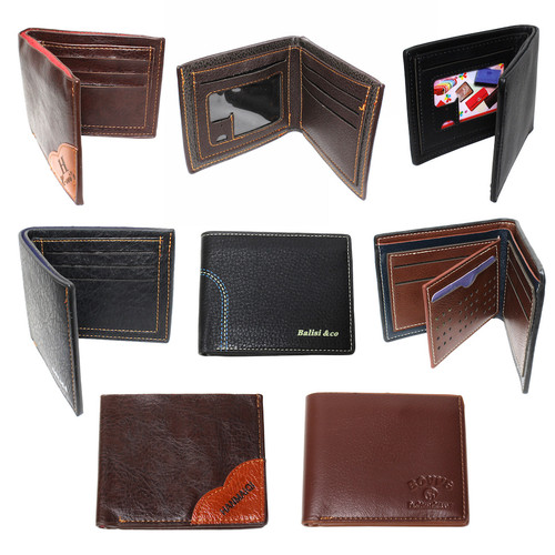 (84) Classic Bi-Fold Men PU Leather Credit Card Wallets