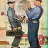 Two Plumbers And A Dog by Norman Rockwell Print