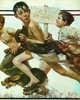 No Simming by Norman Rockwell Print