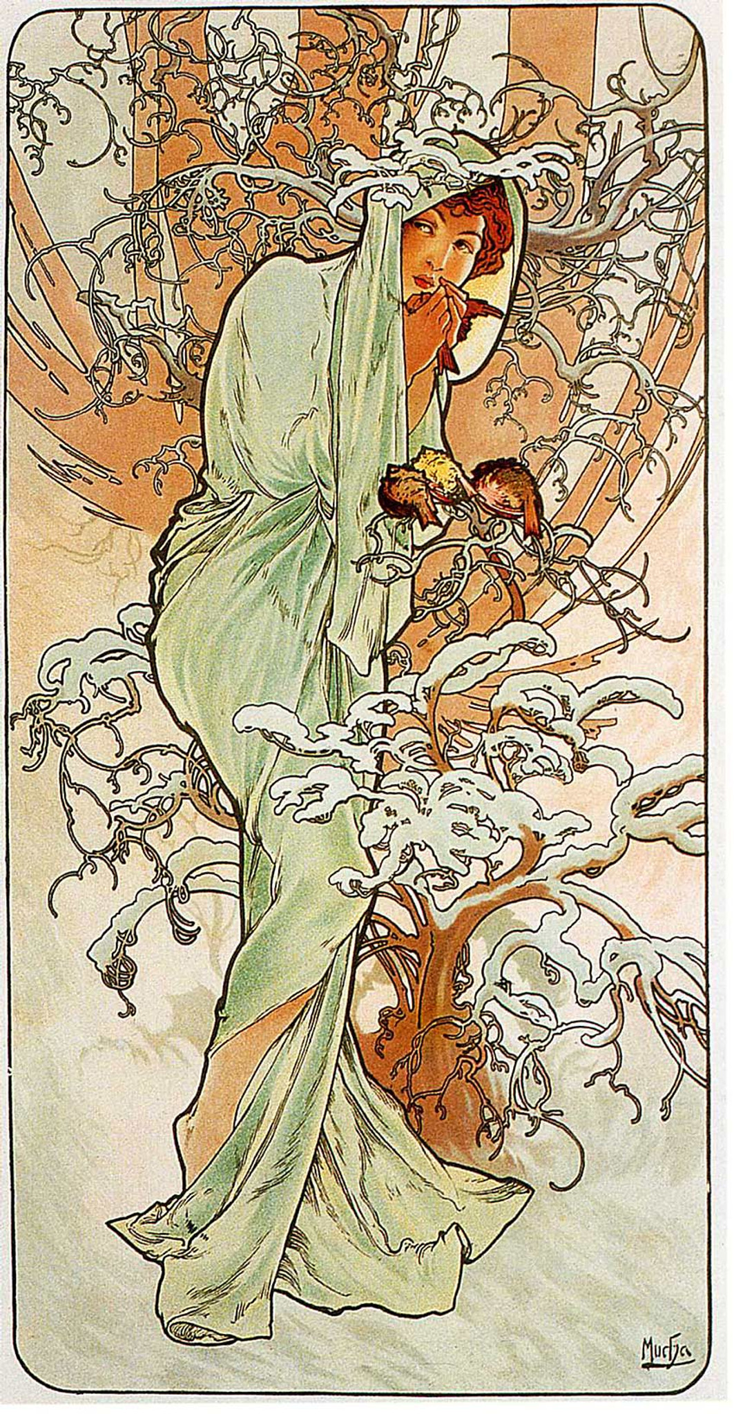 Winter 1896 By Alphonse Mucha Art Reproduction from Wanford