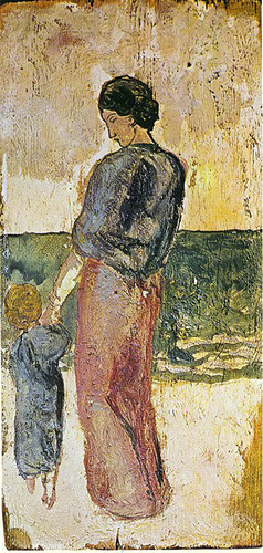 Mother And Child On The Beach 1902 1 By Pablo Picasso