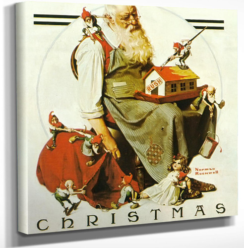 Chirstmas Santa With Elves by Norman Rockwell