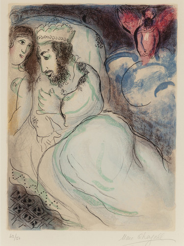 Ara Et Abimelech (From Dessins Pour La Bible) 1960 by Marc Chagall Print