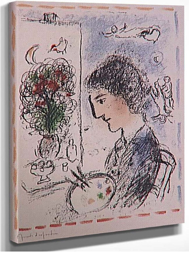 A Flowered Easel 1984 By Marc Chagall