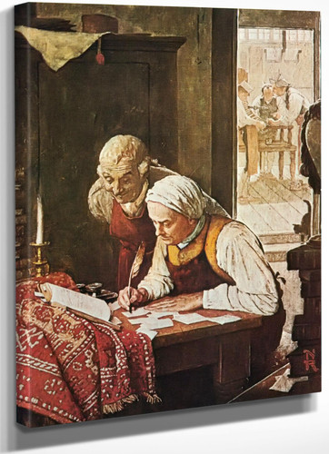 Ben Franklin At A Dest by Norman Rockwell