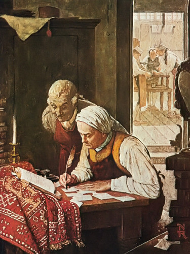 Ben Franklin At A Dest by Norman Rockwell Print