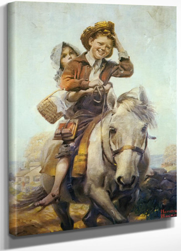 Boy And Girl On A Horse by Norman Rockwell