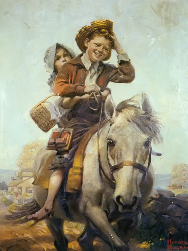 Boy And Girl On A Horse by Norman Rockwell Print