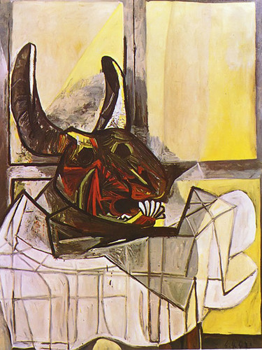 Bulls Head On The Table by Picasso Print