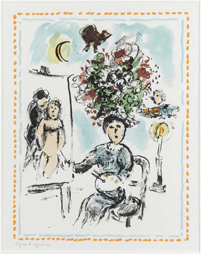 A Painer With Chandelier 1984 By Marc Chagall Art Reproduction from Wanford