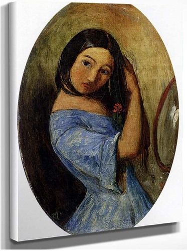 A Young Girl Combing Her Hair By John Everett Millais