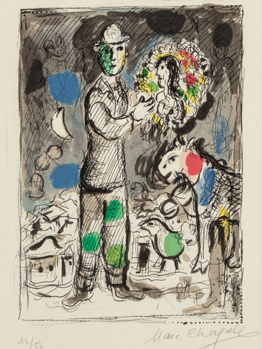 Paysan Au Bouquet 1968 by Marc Chagall Print