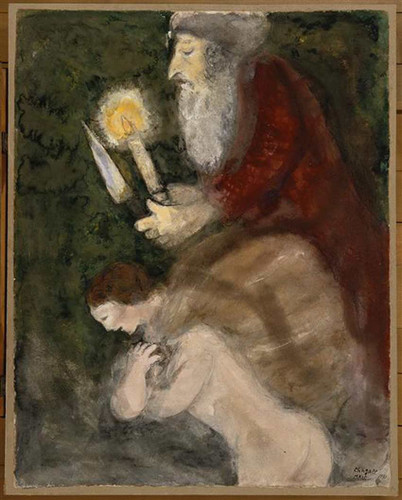 Abraham And Isaac On The Way To The Place Of Sacrifice By Marc Chagall Art Reproduction from Wanford