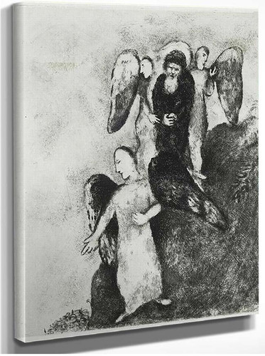 Abraham Approaching Sodom With Three Angels Genesis Xviii 16 1956 By Marc Chagall