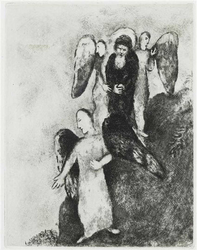 Abraham Approaching Sodom With Three Angels Genesis Xviii 16 1956 By Marc Chagall Art Reproduction from Wanford
