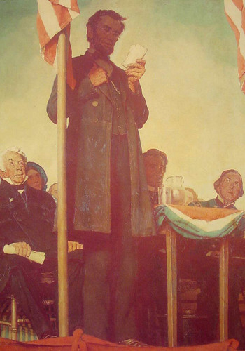 Abraham Delivering The Gettysburg Address 1942 By Norman Rockwell Art Reproduction from Wanford