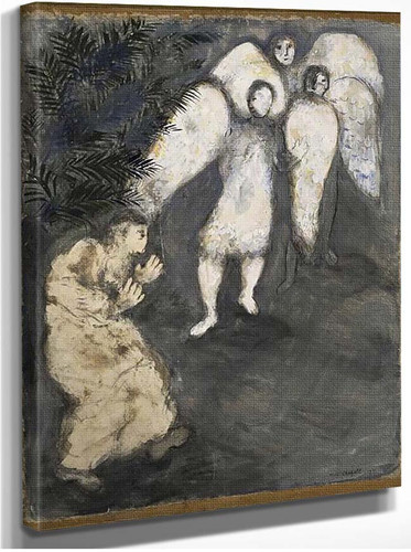 Abraham Prostrated Himself Front Of Three Angels By Marc Chagall