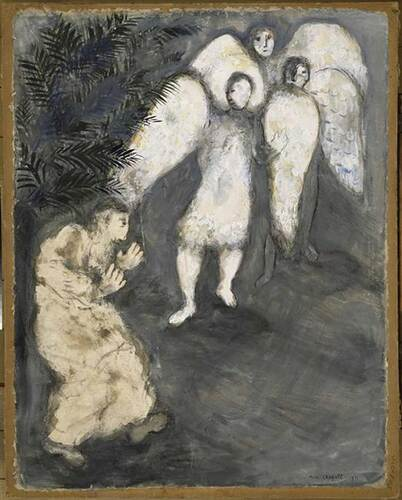 Abraham Prostrated Himself Front Of Three Angels By Marc Chagall Art Reproduction from Wanford