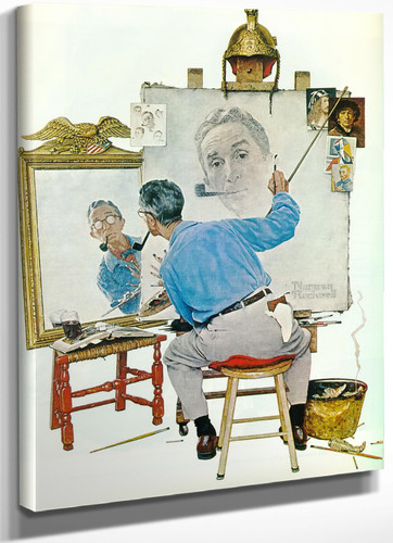 Triple Self Portrait by Norman Rockwell