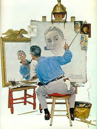 Triple Self Portrait by Norman Rockwell Print