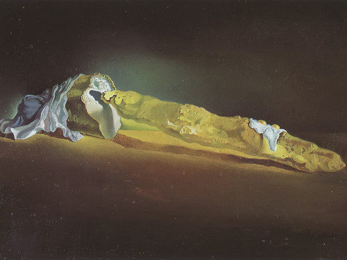 Average French Bread With Two Fried Eggs Without The Plate On Horseback Trying To Sodomize A Heel Of Portuguesde Bread by Salvador Dali Print