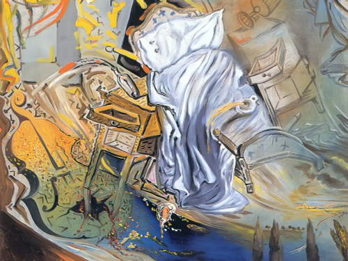 Bed And Two Bedside Tables Ferociously Attacking A Cello by Dali Print