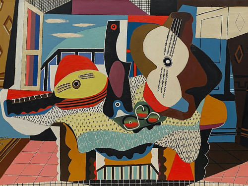 Mandolin And Guitar by Picasso Print