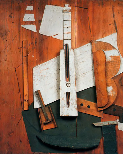 Guitar And Bottle by Picasso Print