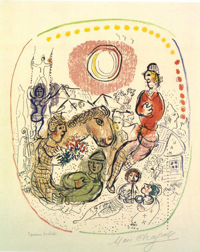Arlequins Playing 1968 By Marc Chagall Art Reproduction from Wanford