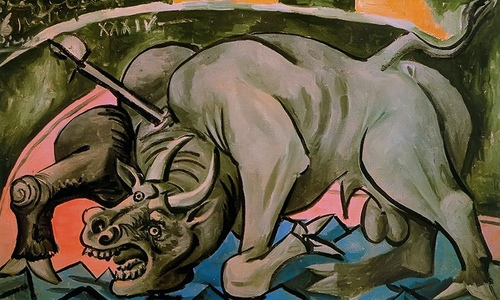 Dying Bull by Picasso Print