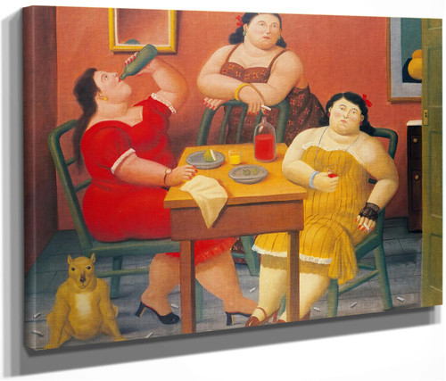 Three Women Drinking by Botero