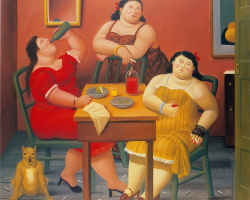 Three Women Drinking by Botero Print