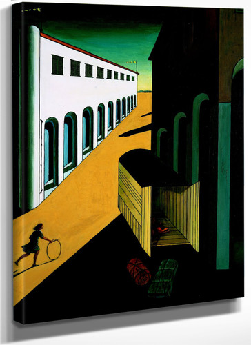 Mystery and melancholy of a street (girl running with a hoop) By Giorgio De Chirico