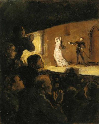 At The Theater By Daumier Honore Art Reproduction from Wanford